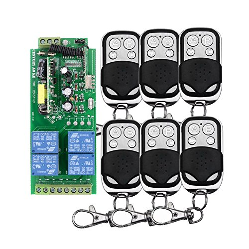 AC85 V ~ 250 V 110 V 230 V 4 Kanäle 433 MHz Funkempfänger + Fernbedienung Funkfernsteuerung Spannungsausgang 1000 W + 6pcs Sender Lichtschalter mit Handsender Fernsteuerung System metall Sender