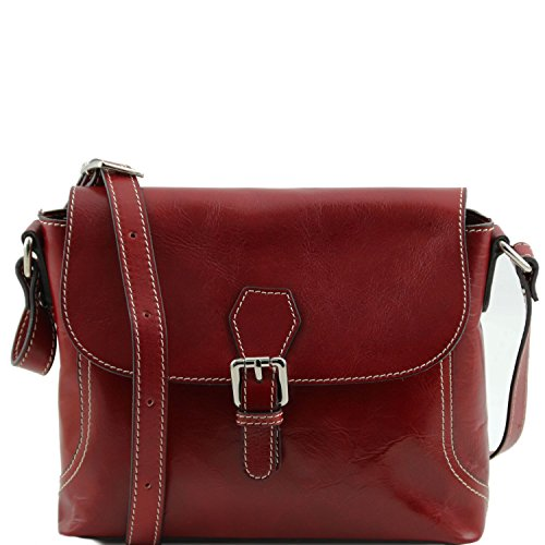 Tuscany Leather - Jody - Tracollina in pelle con pattella Marrone - TL141278/1 Rosso