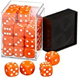Pegasus Spiele 23600706 - Würfel, Opaque: Orange, 36er-Set in Acrylbox