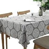 Meiosuns Grey Retro Tischdecke Rechteckige Tischdecke Baumwolle Leinen Tischdecke Geeignet für Home Küche Dekoration, Verschiedene Größen (140x300cm)