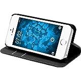 PhoneNatic Kunst-Lederhülle für Apple iPhone SE Book-Case schwarz Tasche iPhone SE Hülle + 2 Schutzfolien