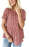 Angashion Damen Kurze Ärmel Rundhalsausschnitt Hemd Casual Oberteil Rüschen Bluse Tops Blumendruck T-Shirts Rot L