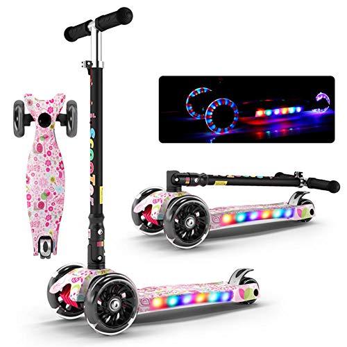 ramonde Leichte Faltbare höhenverstellbare 4-Rad-Kinder-Roller mit leuchten Räder für Jungen Kleinkind Kinder Mädchen