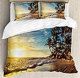Ocean Bettbezug-Set Queen Size, Bild von Palmen an Einem exotischen Strand bei Sonnenuntergang mit Wellen im Ozean Dominikanische Paradies Floral Bettbezug und Kissen Shams Bed Set, Multi