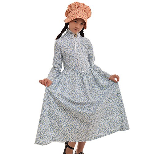 GRACEART Reenactment Pionier Prärie Kolonialen Mädchen Kostüm (US Size-10, Hellblau) (Reenactment Kostüme Bürgerkrieg)