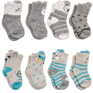 Adorel Calcetines Termicos Algodón para Bebé Niños Lote de 8 10
