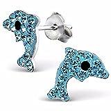 Delfino orecchini in argento 925con 16funkelden cristalli sulla schiena di monkimau, bambini gioielli, in argento Sterling, da donna, donne, ragazze orecchini (blu)