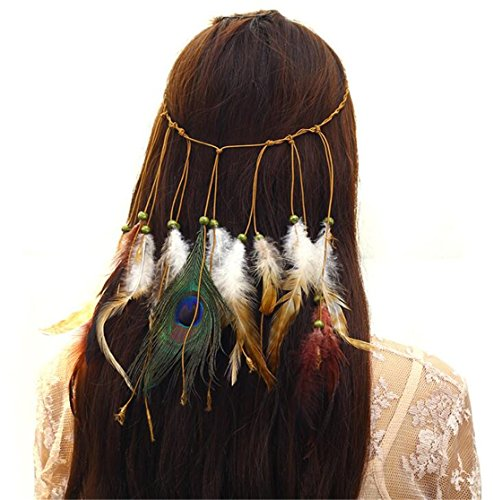 Madlst 1pc Women Girl Indian Vintage Boho Gorgeous Peacock Jade Feathers Hair Band Suede Braided Headband ()