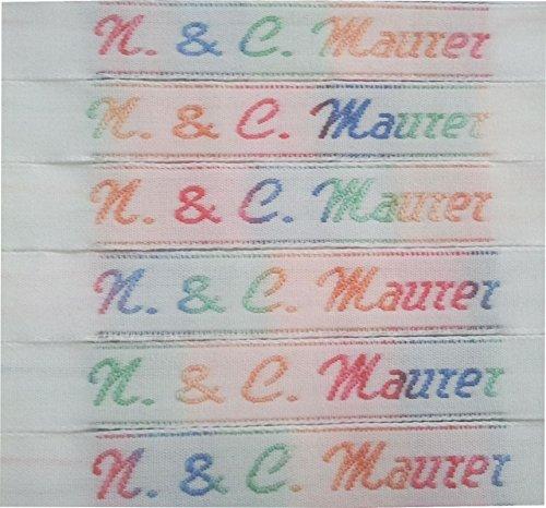 50 NAMENSETIKETTEN Wäscheetiketten 10mm Etiketten Textil hochwertige Kleidungsetiketten in allen Farben des Regenbogens gewebt mit Ihrem Namen mit Bügelbeschichtung