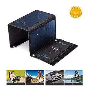 Chargeur Solaire, BlitzWolf 20W / 3A Chargeur Panneau Pliable Power Bank Portable (Plus de 21% de conversion de SunPower) Haute Efficacité Imperméable avec 2 Ports USB Power3S pour iPhone 6/ 6s/ Plus, Samsung Galaxy S5/ S6 / Note 4/ 5, Sony Xperia (Bleu)