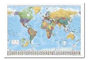 Affichage Carte du Monde Encadrée en Bois Blanc avec Pins–96,5x 66cm (environ 96,5x 66cm)