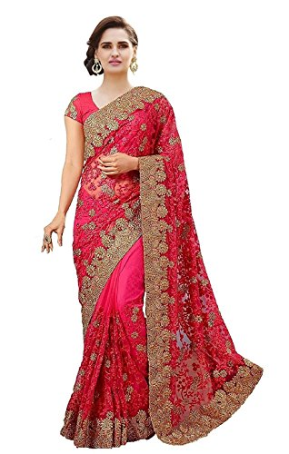 Arohi-Designer-Net-Embroidered-Saree-with-Blouse-piece