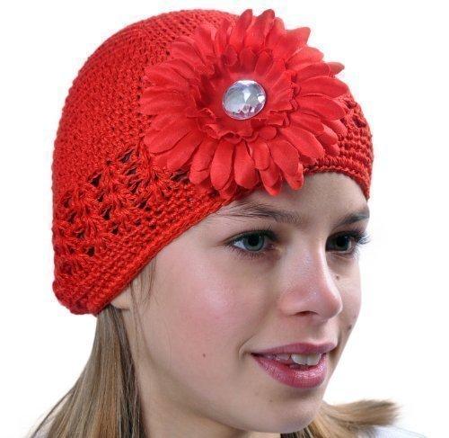 Style Nuvo Baby Kleinkind Mädchen Kufi gehäkelte Beanie, Hut mit schönen Blume Boutique Artikel - Rot, Einheitsgröße (Kufi Beanie)
