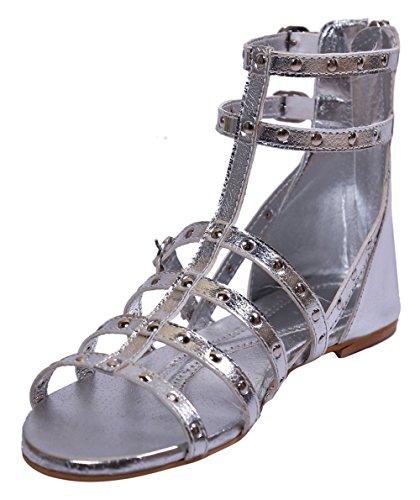 John Sparrow bride à la cheville à glissière bout ouvert sandale plate chaussures pour femmes - taille disponible Argent