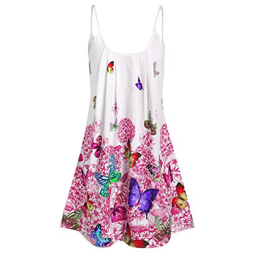 MRULIC Frauen Sommer Cool Lässiges ärmelloses Gefaltetes Mehrlagen Spaghetti Tops Strandshirt Träger Shirt Bluse Oberteile(S-Rosa,EU-46/CN-3XL) -