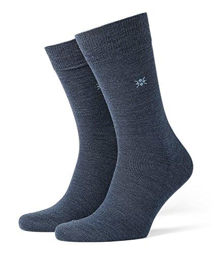 Burlington Herren Leeds Schurwolle Einfarbig 1 Paar Socken, Blickdicht, Blau, 40-46 -