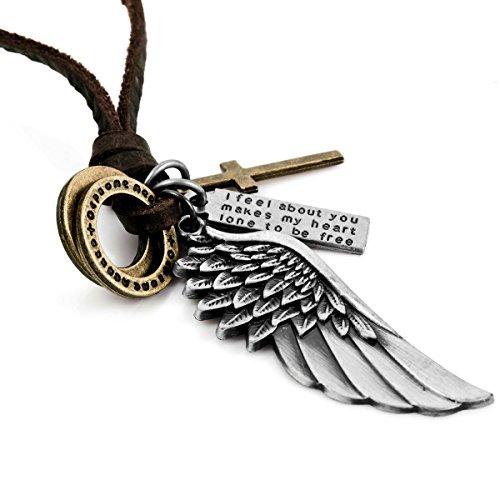 MunkiMix Aleación Genuina Cuero Collar Colgante Plata Oro Dorado Dos Tono Cruzar Cruz Ángel Ala Ajustable 16~26 Pulgada Cadena Hombre,Cadena