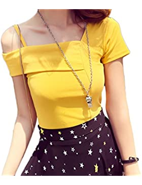 ZXCB Camiseta Sling Off Shoulder Top De Verano Para Mujer Camiseta Slim Casual Sexy