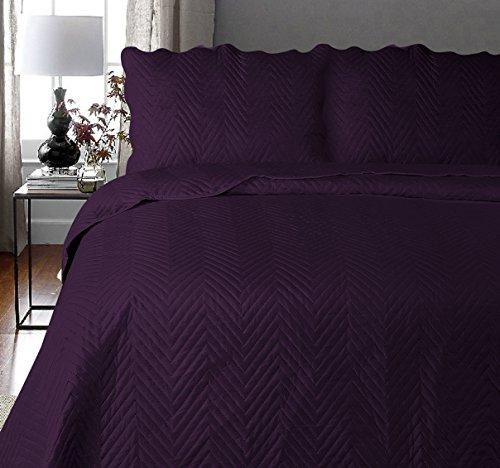 Uni Couette Chaude pour lit Patchwork Édredon Jeté de lit   Polyester   Taille 220 x 240 cm   Arcade Aubergine   par Mode de Coton