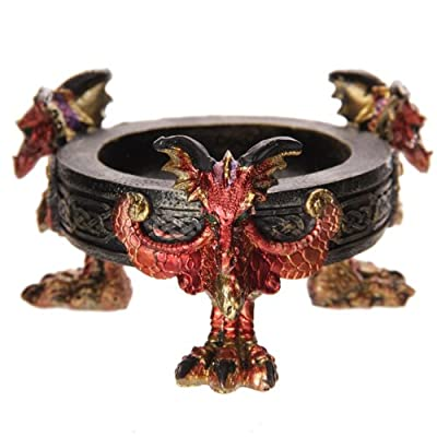 Puckator DRG302 Dark Legends Dragon of Fire in Circle Ashtray 13 x 14 x 7,5 cm