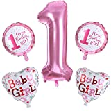 Birthday Dekoration Aufblasbar Helium Folie Ballons,,Party Dusche Foto Requisiten Pink Blau Zahl rund Herz blau Baby Mädchen Jungen 1. Geburtstag Party Luftballons Set Supplies (5pcs/set)