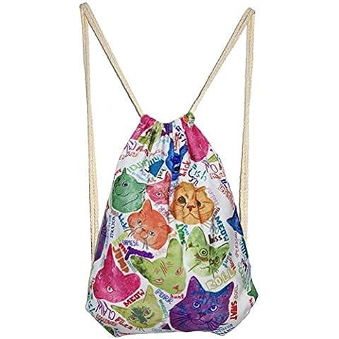 Panegy Moda Casual Mujer Chica Lona 3D Gato Patrón Mochila Tipo de Saco Gym Sack Bolsa con Cuerdas para Gimnasia