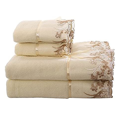 Clearance!Cotton Bath Towels Decorative Towels - GreForest Beige Lace Towels