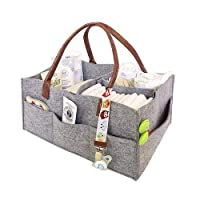 CatcherMy Baby Diaper Caddy Organizer, Foldable Felt Storage Bag Portable Lightly Multifunction Changeable Compartments for Mom Newborn Kids Nappies,Grey