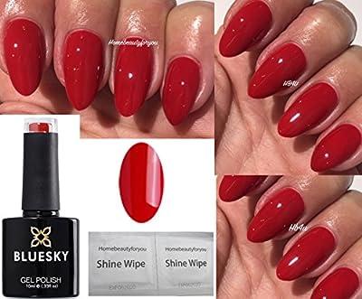 Bluesky QXG45 Classic Red Nail Gel Polish UV LED Soak Off 10ml PLUS 2 Homebeautyforyou Shine Wipes