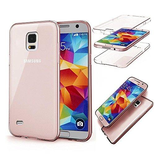 Galaxy S5 Hülle,Galaxy S5 Silikon Hülle,JAWSEU Schutzhülle Samsung Galaxy S5 Hülle [Glitzer Strass Ring Stand Holder], Luxus Glitzer Bling Diamant Strass Spiegel TPU Case für Samsung Galaxy S5 Bumper  360°Rose Gold