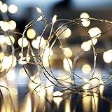 [Fernbedienung und Timer] KooPower 100er LED Outdoor Lichterkette mit 6M Flexible Silberdraht, Batterienbetrieben (8 Modi, IP65 Wasserdicht, Außenbeleuchtung), Warmweiß
