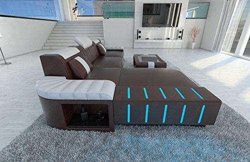 MODERNE CANAPÉ EN CUIR Bellagio l-forme design avec LED éclairage