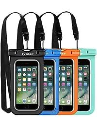 [IPX8 Certificado] iVoler [4 Unidades] Funda Bolsa Móvil Impermeable Universal 6.2 Pulgadas para iPhone X, 8, 8 Plus, 7, 7 Plus,6 / 6s Plus, SE 5S 5C, Samsung Galaxy S9/S9 Plus/S8/S8+/S7/S7 Edge, Huawei P20/P20 Lite/P10/P10 lite, BQ Aquaris, LG, Sony, Motorola, Monedas, Pasaporte, etc. (Negro+Azul+Verde+Naranja)