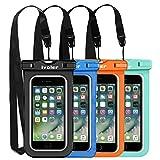 [IPX8 Zertifiziert] Wasserdichte Handyhülle, [4 Stücke] iVoler Wasserdichte Hülle Beutel Tasche, Wasserfeste Handyhuelle, Staubdichte, Stoßfeste, Schneeschutzanlage Wasserdichte Schützhülle für iPhone X/ 8/ 8 Plus/ 7/ 7 Plus/ 6(s) Plus/ SE/ 5S/ 5C, Samsung Galaxy S9/ S9 Plus/ S8/ S8+/ S7/ S7 Edge/ S6/ S6 Edge/ Edge+, Huawei , LG, HTC, Sony Xperia, Motorola, usw bis zu 6.2 Zoll. [Lebenslange Garantie] (Schwarz+Blau+Grüne+Orange)