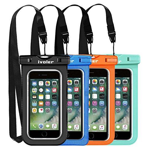 iVoler [4 Pezzi] Custodia Impermeabile Smartphone, IPX8 Universale Borsa Impermeabile Sacchetto Impermeabile Cellulare Dry Bag Waterproof per iPhone, Samsung, Huawei, ECC. (Nero+Blu+Verde+Orange)