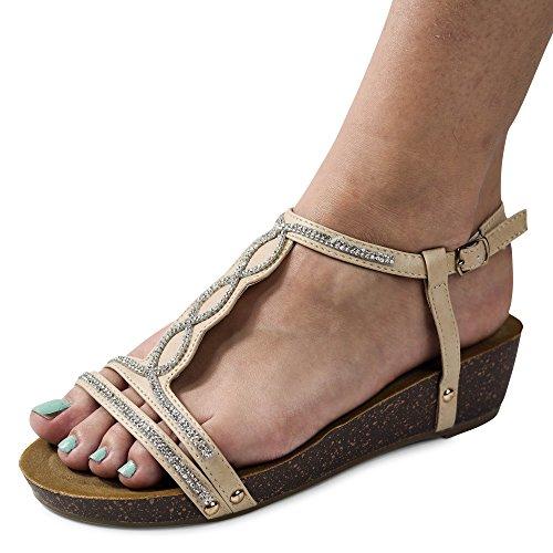 Damen Sandalen Keilabsatz Sandaletten Glitzer Wedge neu ST45 Beige