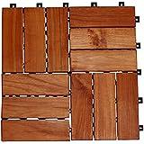 Brema Juego de azulejos para suelos de madera, barnizada, 10piezas, 30x 30cm, color beige