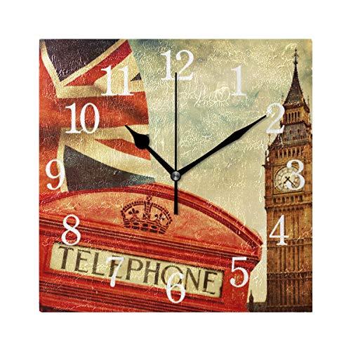 WowPrint UK Flagge London Motiv Muster Wanduhr Arabisch Ziffer, Leise, Ohne Ticken, Quadratische Wanduhren, Wohnaccessoires, Wohnzimmer, Badezimmer, Schlafzimmer, Küche, Büro Deko