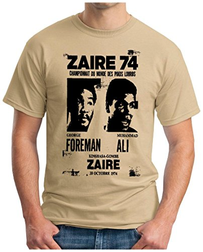 OM3 - ZAIRE74-FOREMAN-vs-ALI - T-Shirt - Rumble In The Jungle Afrika Africa Heavyweight Boxing Fight Champion, S - 5XL Khaki