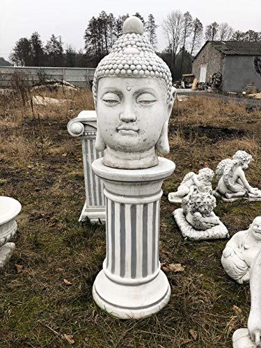 Antikes Wohndesign Steinsäule + Buddha Thai Buddha Kopf Gartensäule