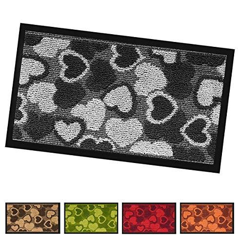 ARREDIAMOINSIEME-nelweb Paillasson asciugapassi intérieur extérieur 40 x 70 Premium antinciampo Tapis Natte cœurs Mod.Silver ou Gris