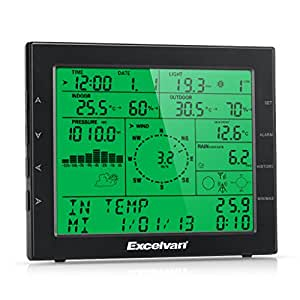 Excelvan Professional Wireless Weather Station with Internet Upload Plus UV and Light Index, PC Connect with Software, Wind Speed,Direction, Rainfall, Moon Phase (Black)