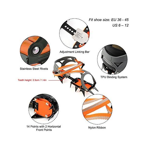 Docooler 14 Puntos Pinzas Dentadas Crampones Escalada en Hielo de Acero al Manganeso Crampón Dispositivo de Tracción (Naranja) 4