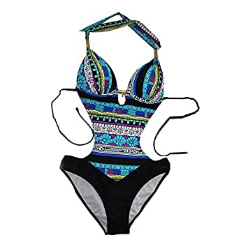 Ecollection Womens One Piece Cut Out Swimwear Swimsuit S Blue