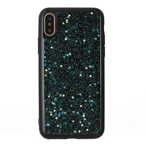 iPhone X Coque TPU Full Body,iPhone X Case Crystal Clear,Hpory Beau élégant Luxury [Full Body] [Tactile 360 Degrés] Ultra Thin Transparent Soft TPU Gel Silicone Cristal Clair Etui Housse de Protection Star,Bleu-vert