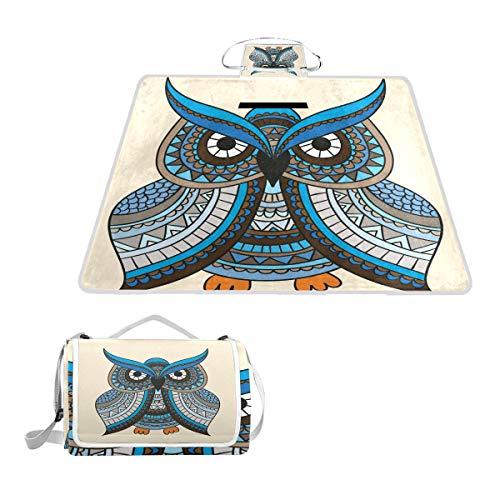 LORONA Blaue Eule mit Ornamenten Picknick-Decke, Handliche Matte, schimmelresistente und wasserdichte Campingmatte für Picknicks, Strände, Wandern, Reisen, RVing und Ausflüge