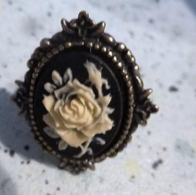 bague camée victorienne réglable rose ivoire bronze