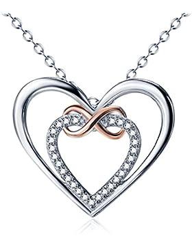 YFN Halskette Damen Kette 925 Sterling Silber 5A Zirkonia Unendliche Liebe Herz Anhänger Mädchenschmuck