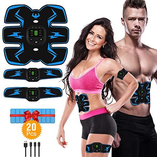 Victoom ems stimolatore muscolare, addominale tonificante cintura abs, trainer wireless portatile per addome/braccio/gamba per uomo o donna