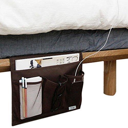 Pequeño organizador para colocar a un lado de la cama o sofá, con bolsillos para el iPad y iPhone de Apple, relojes, teléfonos móviles, tabletas, gafas, mandos a distancia y revistas., marrón